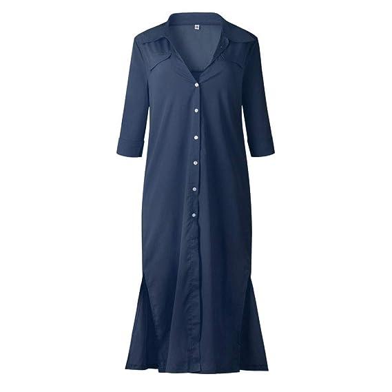 BBestseller-Vestidos Vestido para Mujer Otoño Manga Larga con Abertura Lateral en el botón para