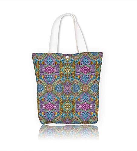 canvas tote bag Abstract tribal ethnic seamless reusable canvas bag bulk for grocery,shopping  W14xH15.7xD4.7 INCH