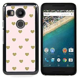 """For LG GOOGLE NEXUS 5X H790 Case , Bebé rosado del papel pintado del corazón del oro del lunar"""" - Diseño Patrón Teléfono Caso Cubierta Case Bumper Duro Protección Case Cover Funda"""