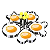 ZiYan 5pcs Set Fried Egg Rings Mold Non Stick for Griddle Pan, Egg Shaper Pancake Maker with Handle, Stainless Steel Egg Form for Frying Cooking