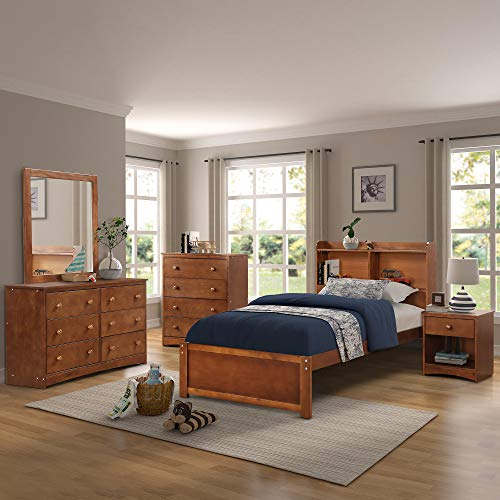 Platform Twin Wood Bed Frame with Headboard and Bookcase, Extra Long Wooden Support Slats Bed Frame, Walnut Finish by Harper&Bright Designs