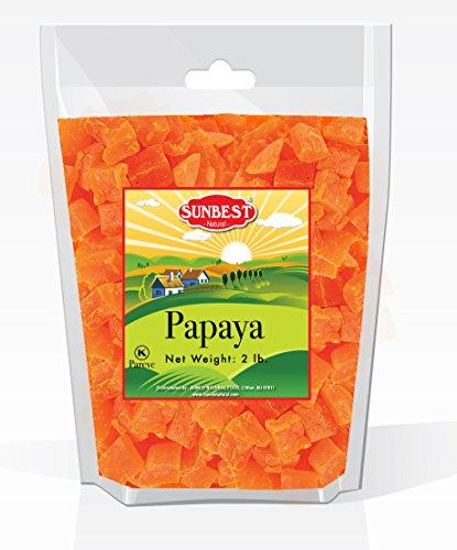 SUNBEST Dried Papaya Chunks in Resealable Bag (2 Lb) (Papaya Chunks)