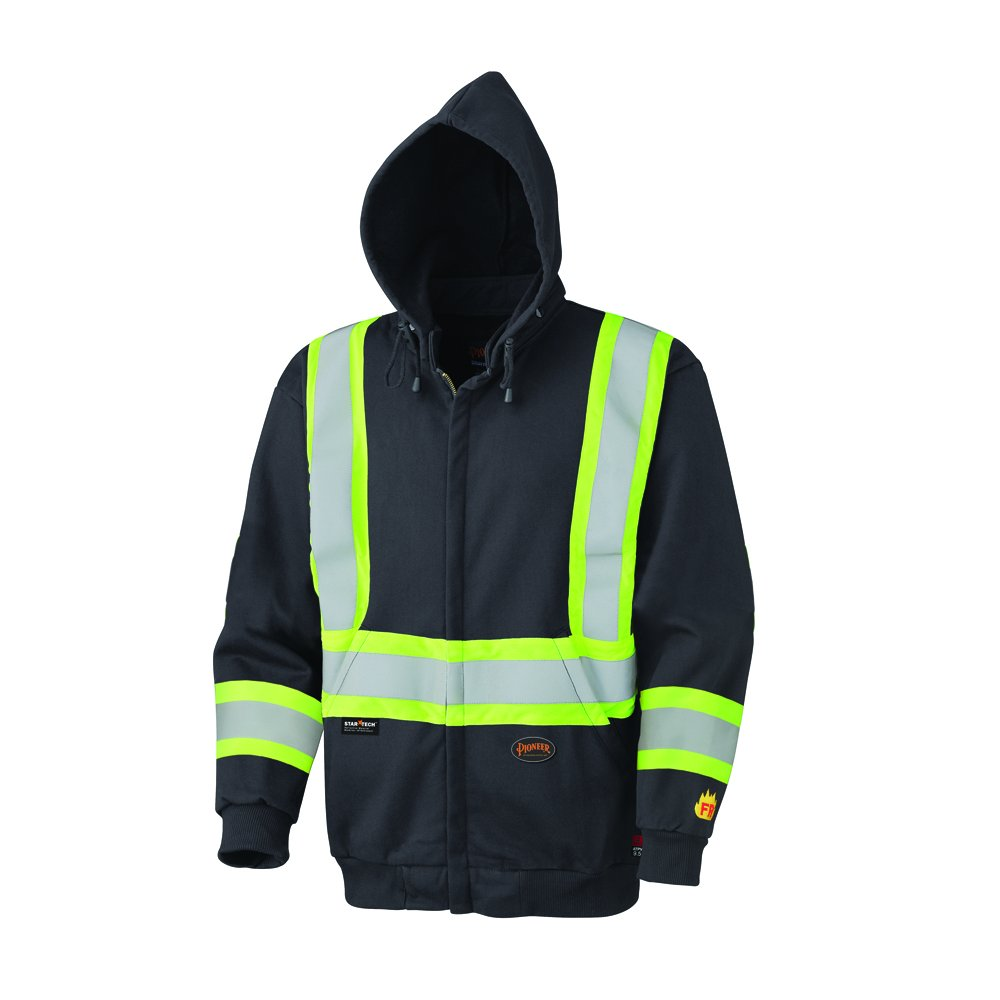Pioneer V2570470U Hi-Vis Flame Resistant Zip-Style Heavyweight Cotton Safety Hoodie - Black (3XL)