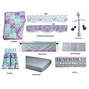 Bacati Isabella Paisley Girls 10 Piece Nursery-In-A-Bag Crib Bedding Set with Long Rail Guard, Lilac/Purple/Aqua