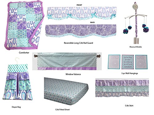 Bacati Isabella Paisley Girls 10 Piece Nursery-in-A-Bag Crib Bedding Set with Long Rail Guard, Lilac/Purple/Aqua