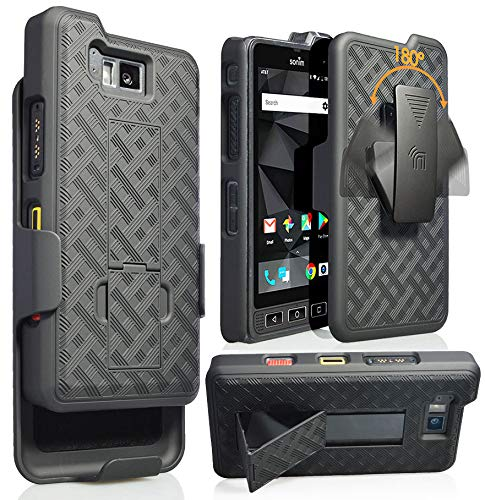 Sonim XP8 Case with Clip, Nakedcellphone [Black Tread] Kickstand Cover with [Rotating/Ratchet] Belt Hip Holster Combo for Sonim XP8 Phone (XP8800) from Nakedcellphone