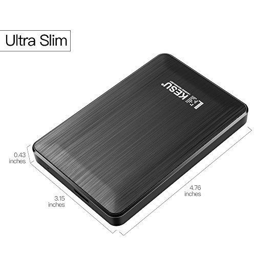 2.5'' 250GB Ultra Slim Portable External Hard Drive USB3.0 HDD Storage for PC, Mac, Desktop, Laptop, MacBook, Chromebook, Xbox One, Xbox 360, PS4(Black) by KESU (Image #1)