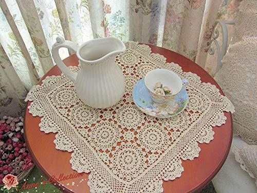 - FidgetGear Hand Crochet Table Topper/Centerpiece/Doily~Beige~18