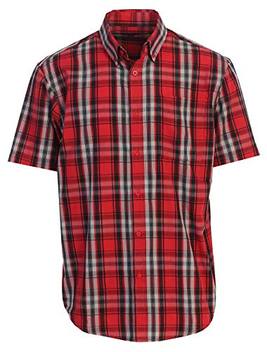 Gioberti Men's Plaid Short Sleeve Shirt, Red/Black/Gray & Charcoal Gradient, 4X Large