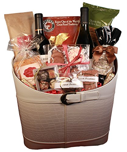 Gift Basket Large White Faux Leather Tote (White Faux Leather Magazine Tote) (Red Wine Baskets)