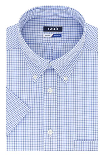 IZOD Men's Regular Fit Short Sleeve Check Dress Shirt, Blue, 16.5