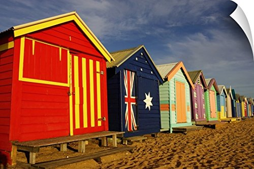Canvas On Demand Wall Peel Wall Art Print entitled Australia, Victoria, Melbourne, beach huts on Brighton Beach - Huts Melbourne Beach