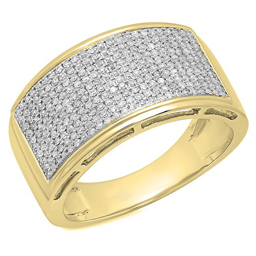 0.70 Carat (ctw) 10K Yellow Gold Round Cut White Diamond Men's Hip Hop Pinky Ring 3/4 CT (Size 13) by DazzlingRock Collection