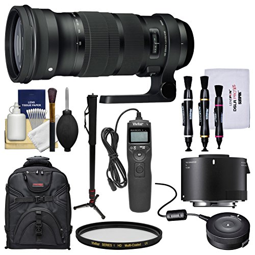 Price comparison product image Sigma 120-300mm f / 2.8 Sports DG APO OS HSM Zoom Lens with TC-2001 2X Teleconverter + USB Dock + Backpack + Monopod + Kit for Canon EOS DSLR Cameras