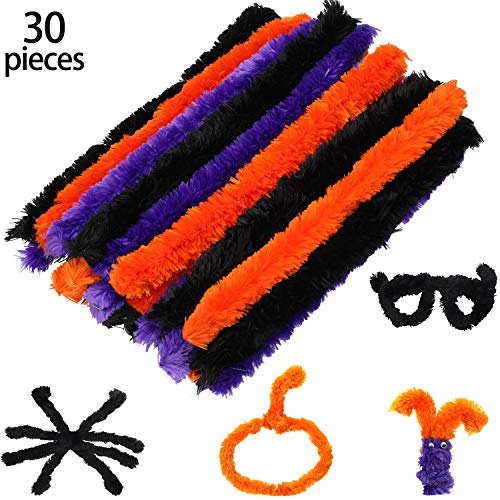 Halloween Decorations Arts And Crafts - 30 Pieces Chenille Stem Cleaners Assorted