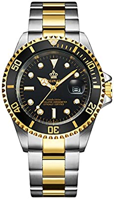 Fanmis Black Dial Ceramic Bezel Sapphire Glass Luminous Quartz Silver Gold Two Tone Stainless Steel Watch from Fanmis international