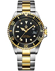 Fanmis Green Dial Ceramic Bezel Sapphire Glass Luminous Quartz Silver Gold Two Tone Stainless Steel Watch (gold)