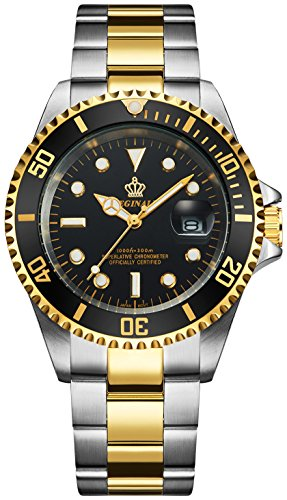 (Mens Luxury Watches Ceramic Bezel Sapphire Glass Luminous Quartz Silver Gold Two Tone Stainless Steel Watch (Gold Black))