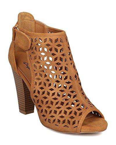 Qupid FD82 Women Nubuck Peep Toe Perforated Cut Out Chunky Heel Bootie - Tan