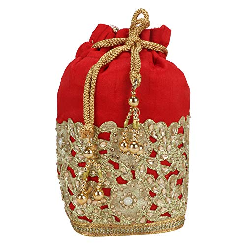 (Fancy Haat Silk Ethnic Rajasthani Women's Potli Bag (Red))