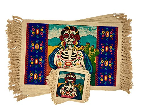 (SpiritFest Sugar Skull Placemats & Coasters: Set of 8 Day of the Dead Kitchen & Dining Table Decor (Marigold)