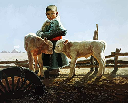 - My First Paint by Number Kit 16''X20'' Inch,Tibetan Children and Sheep