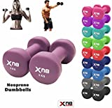 Neoprene Dumbbell Set 1Kg, 2Kg, 3Kg, 4Kg, 5Kg, 6kg, 8kg, 10kg pair Ladies Gents Aerobic Weights Fitness Body Toning Home Gym Strength Exercise Biceps Training Pilates (Purple, 5Kg Set = (5*2 = 10Kg))
