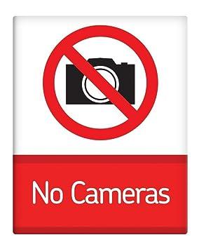 """No cámaras prohibido 8 x 10 """"metal sign lugar de trabajo seguridad 160"""