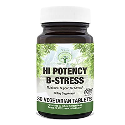 Vitamin B Complex for Stress by Natural Nutra with Vitamin C, Passion Flower and Valerian Root, 30 Tablets