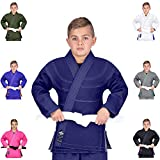 Elite Sports Essential IBJJF Ultra Light Brazilian Jiu Jitsu Kids BJJ Gi W/Preshrunk Fabric & Free White Belt (Navy, C1)