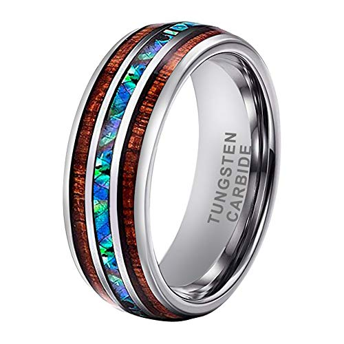 iTungsten 8mm Tungsten Rings for Men Women Wedding Bands Abalone Shell Koa Wood Inlay Domed Polished Shiny Comfort Fit