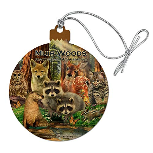 (GRAPHICS & MORE Muir Woods National Monument California CA Redwoods Forest Animals Wood Christmas Tree Holiday Ornament)