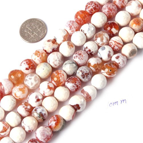 GEM-insid Red Fire Agate Gemstone Loose Beads Natural Energy Power Beads For Jewelry Making 10mm Round Faceted ()