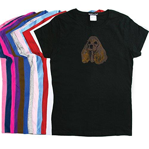 (Cocker Spaniel Face - Womens Rhinestone Dog Breed Shirt)