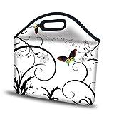 Meffort Inc® 12 inch Neoprene Laptop / Tablet Handbag Carry Case for 12.5″ or Smaller Size Notebook – White Butterfly Design, Bags Central