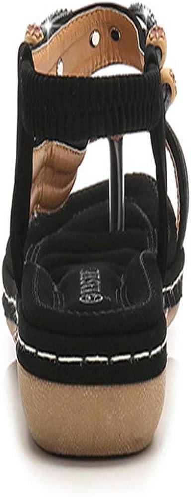 Wottu Large Size Female Sandals Bohemian Womens Sandals Retro Rhinestone Beaded Female Sandals Round Head Flat Bottom///Tendon Soft/Bottom/Shoes Black,