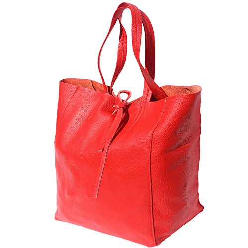 TOTE TOTE GENUINE SHOPPING Red BAG SHOPPING LEATHER 9121 BAG GENUINE IN IN q44rIw
