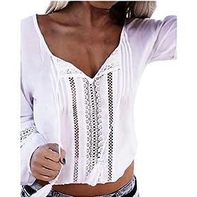 Women Tops,kaifongfu Long Sleeve Casual Solid Shirts Lace Splice Beach Top Blouse