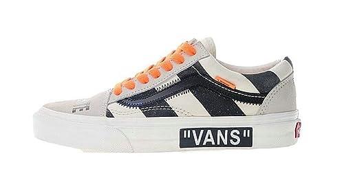 Off-White X Vans Old Skool Canvas Skate Shoes Beige White Orange Zapatillas de Gimnasia para Hombre Mujer: Amazon.es: Zapatos y complementos