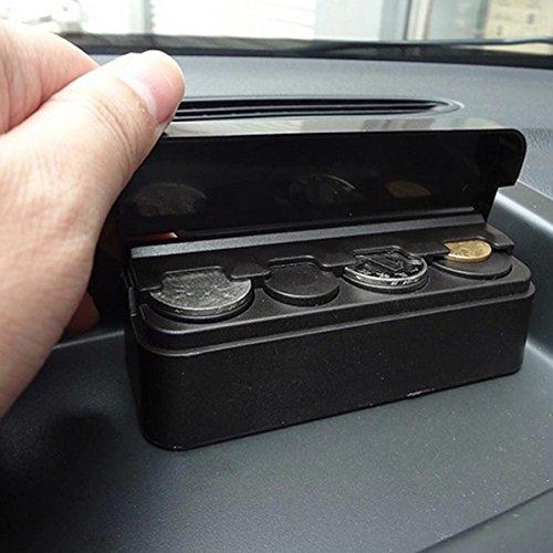 OrliverHL Portable Coin Holder Dispenser Black Car Interior Plastic Coin Case Storage Box Holder Container Organizer (Auto Coin Holder)