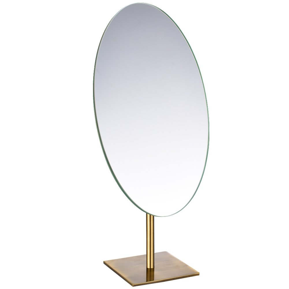 GURUN Tabletop Oval Vanity Makeup Mirror, 7x12 Antique Brass, Luxuries Mirror for Jeweller's by GURUN