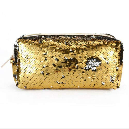 (Travel Cosmetic Bag Mermaid Sequin Makeup Pouch Wash Organizer Storage Purse (Colour - #2 Zipper Sequin - Gold))