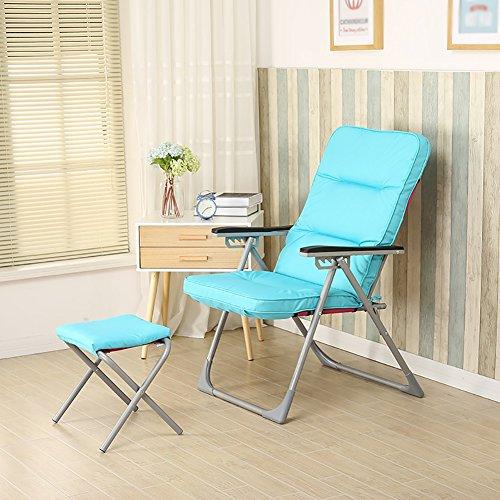 Felices juntos Multi-angulo Ajustable Silla reclinable Oficina en casa Almuerzo Descanso Silla Perezoso sofa Silla reclinable (Color : Blue)