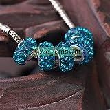 1-11 Lake Blue 12x17mm 10pcs Big Hole Crystal Rhinestones Clay Loose Spacer Beads European Bracelet