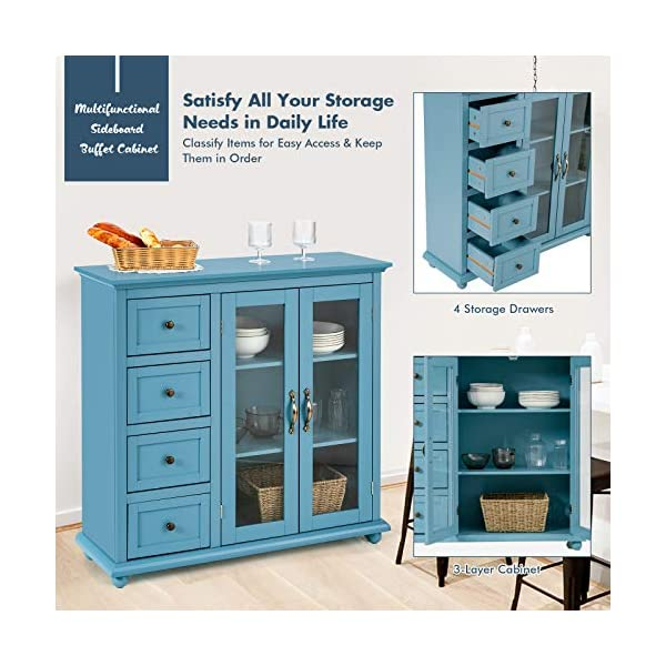 Giantex Buffet Sideboard, Wood Storage Cabinet, Console Table with 4 Drawers, 2-Door Credenza, Living Room Dining Room…