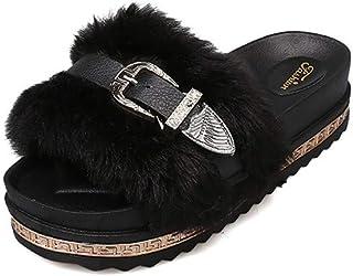 DAMENGXIANG Femmes Pantoufles Automne Hiver Nouvelle Mode Non Glissement Fond Épais Moelleux Peluche Pantoufles Fausse Fourrure Muller Chaussures 39