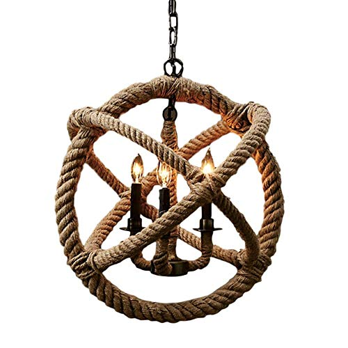A Touch of Design Rustic 4-Light Rope Chandelier - Decorative Hanging Home Decor Light - Ceiling Light Fixture - 23 in x 23 in