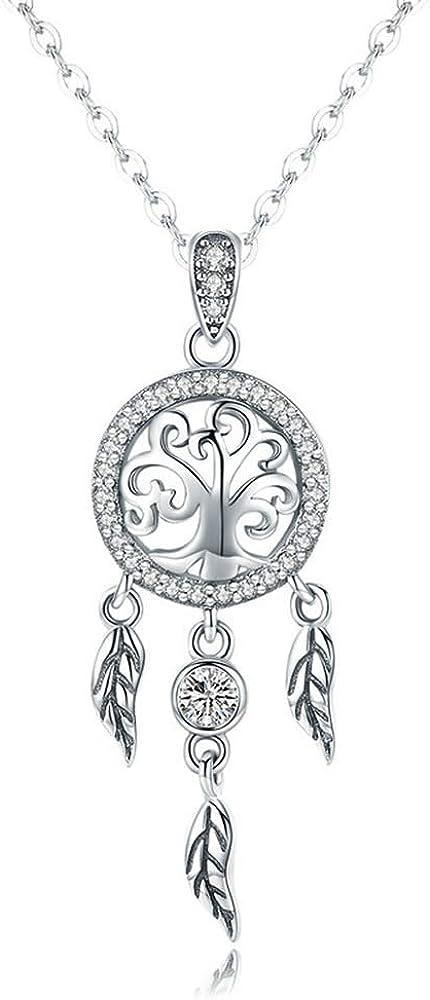 /Árbol de la vida atrapasue/ños aut/éntica plata de ley 925 /árbol de la vida moda atrapasue/ños colgantes collares para mujer plata de ley joyas