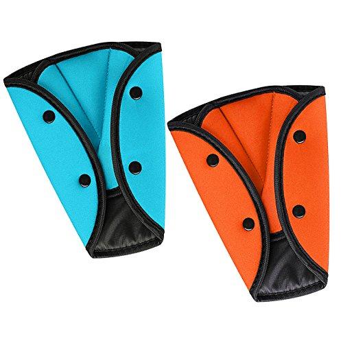Seatbelt Adjuster, HONTECH 2 Packs Seat Belt Safety Covers for Kids Blue+Orange. (2pack)