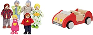 Happy Family Dollhouse Set by Hape  Award Winning Doll Family Set, 6 Family Figures & Dollhouse Family Car   Wooden Dolls House Car Toy, Push Vehicle Accessory for Complete Doll House Furniture Set